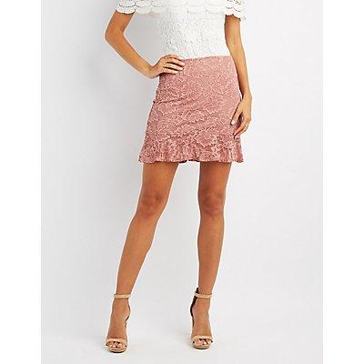Ruffle-Trim Lace Skirt