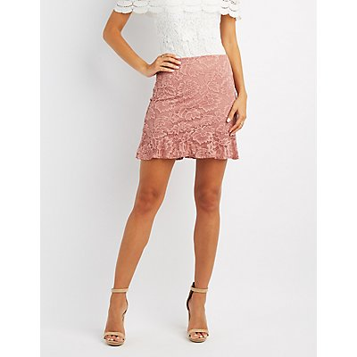 Ruffle-Trim Lace Skirt