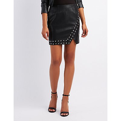 Studded Faux Leather Mini Skirt