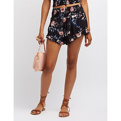 Floral Smocked Ruffle-Trim Shorts
