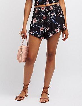 Floral Smocked Ruffle-Trim Shorts