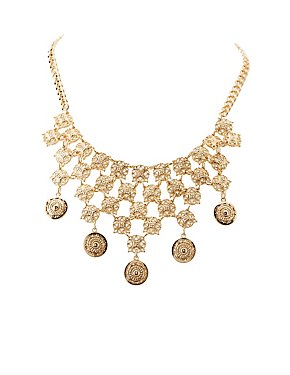 Coin & Filigree Bib Necklace