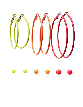 Neon Stud & Hoop Earrings - 6 Pack