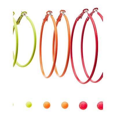 Neon Stud & Hoop Earrings - 6 Pack