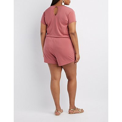 Plus Size Surplice Wrap Romper