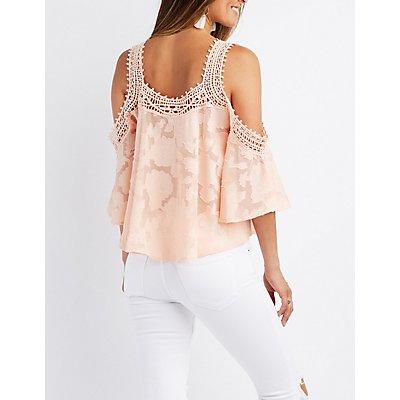 Flocked Crochet-Trim Cold Shoulder Top