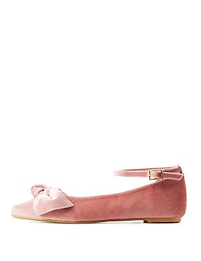 Bamboo Velvet Pointed Toe Bow Flats