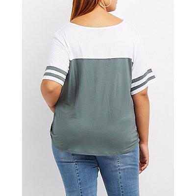 Plus Size Varsity Stripe Football Tee