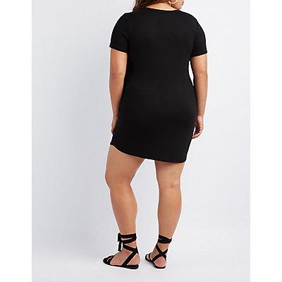 Plus Size Graphic Lace-Up T-Shirt Dress