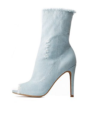 Peep Toe Frayed Denim Booties