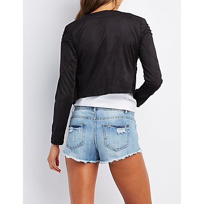 Faux Suede Cropped Moto Jacket