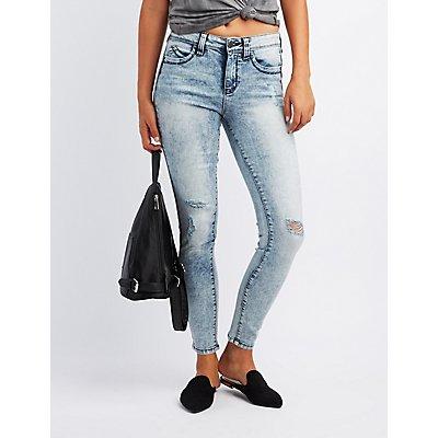 Acid Wash Push Up Skinny Jeans