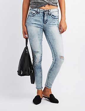 Acid Wash Push Up Skinny Jeans