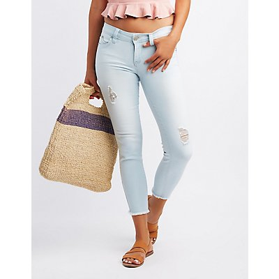 Push-Up Destroyed Crop Skinny Jeans