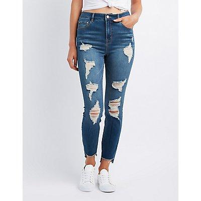 Refuge Step Hem Destroyed Skinny Jeans