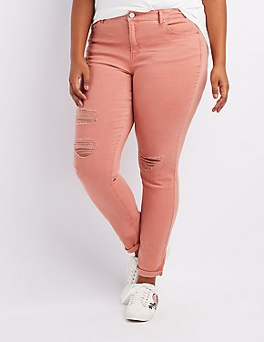 Plus Size Refuge Skinny Boyfriend Destroyed Jeans