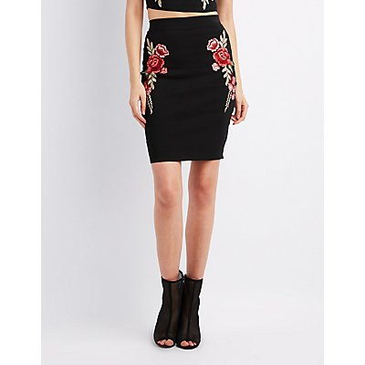 Floral Embroidered Bodycon Skirt