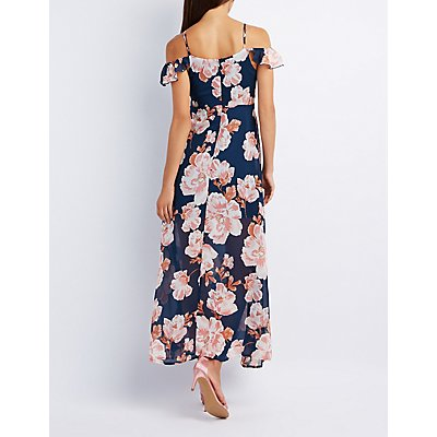 Floral Cold Shoulder Maxi Dress