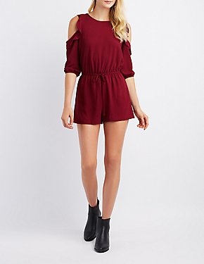 Ruffle Cold Shoulder Romper