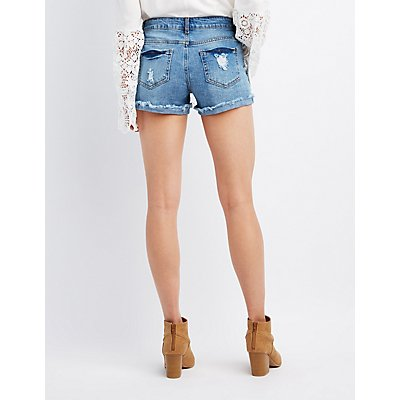 Destroyed Denim Cuffed Shorts