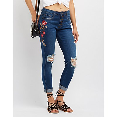 Machine Jeans Embroidered Destroyed Skinny Jeans
