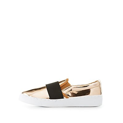 Qupid Pointed Toe Slip-On Sneakers