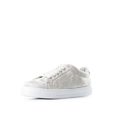 Qupid Velvet Lace-Up Sneakers