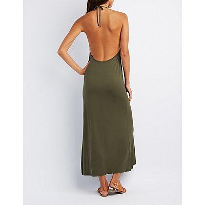 V-Neck Halter Maxi Dress