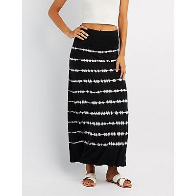 Tie Dye Foldover Maxi Skirt