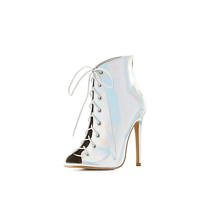Holographic Lace-Up Peep Toe Booties