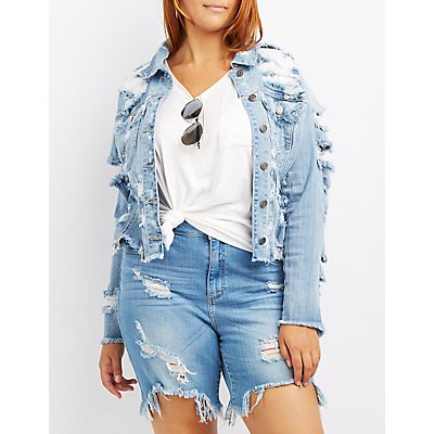 Plus Size Cello Destroyed Cropped Denim Jacket