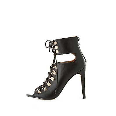 Lace-Up Cut-Out Dress Booties