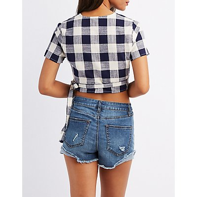 Gingham Tie-Front Crop Top