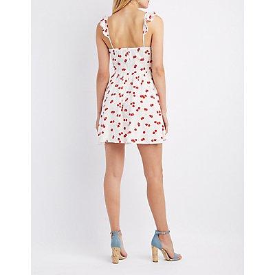 Printed Ruffle Skater Dress