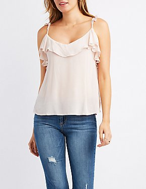 Ruffle-Trim V-Neck Tank Top