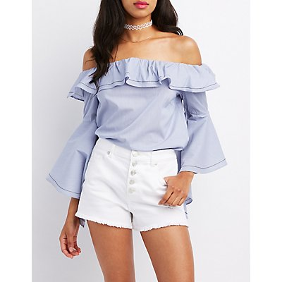 Ruffle Off-The-Shoulder Bell Sleeve Top