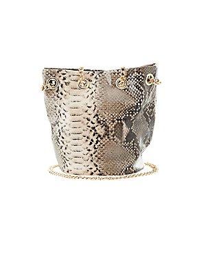Faux Snakeskin Bucket Bag