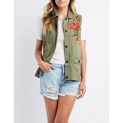 Floral Embroidered Utility Vest