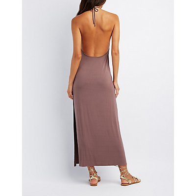 V-Neck Halter Maxi Dress