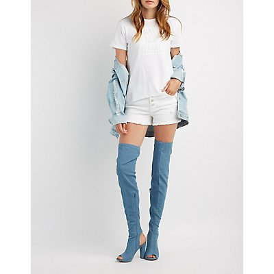 Bamboo Peep Toe Thigh-High Boots