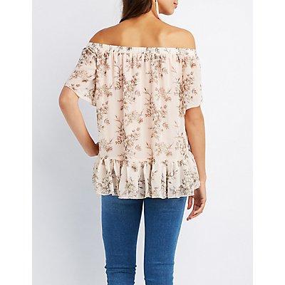Floral Off-The-Shoulder Peplum Top