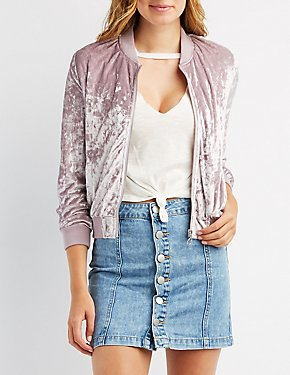 Crushed Velvet Bomber Jacket