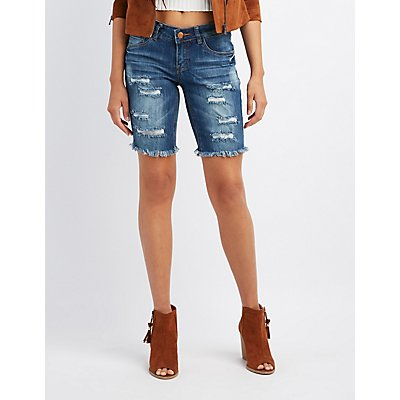 Dollhouse Destroyed Bermuda Shorts