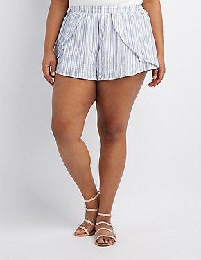 Plus Size Striped Tulip Shorts