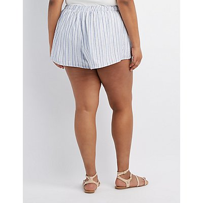 Plus Size Striped Tulip Shorts