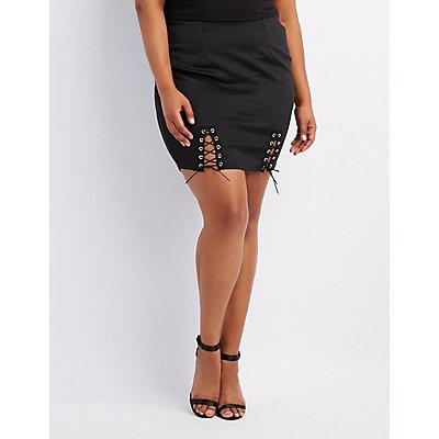 Plus Size Lace-Up Bodycon Mini Skirt