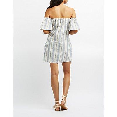 Striped Linen Off-The-Shoulder Dress