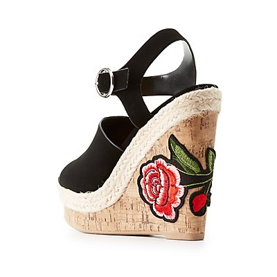 Patch Cork Wedge Sandals