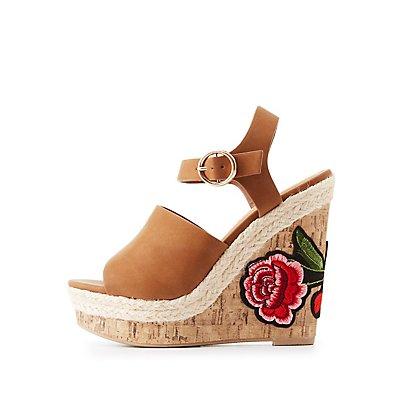 Patch Cork Wedge Sandals