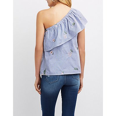 Embroidered Striped One-Shoulder Top